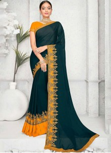 Green Embroidered Party Saree