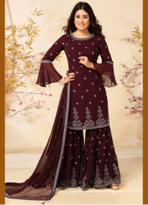 Wine Faux Georgette Readymade Suit