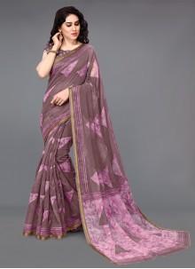 Wine Festival Cotton Printed Saree