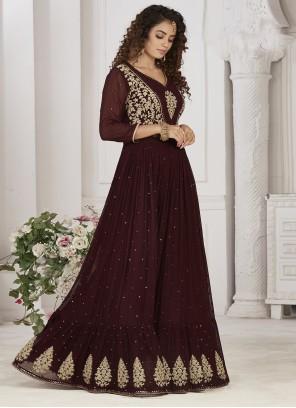 Wine Georgette Readymade Anarkali Suit