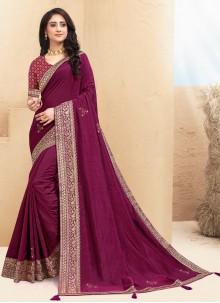 Wine Lace Contemporary Saree