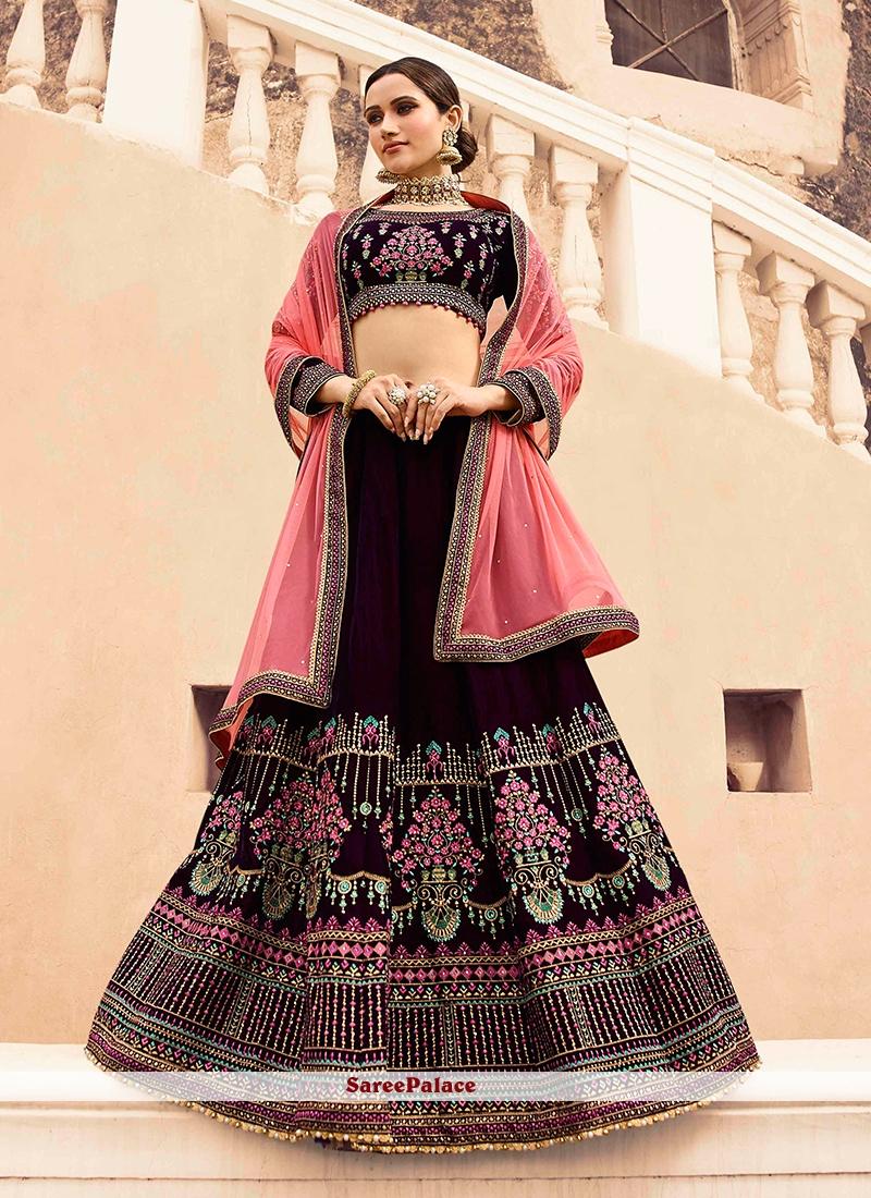 Wine Lace Wedding Lehenga Choli