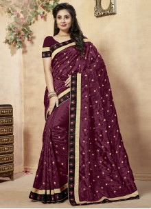 Wine Lace Work Raw Silk Classic Designer Saree
