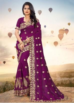 Wine Party Silk Classic Designer Saree
