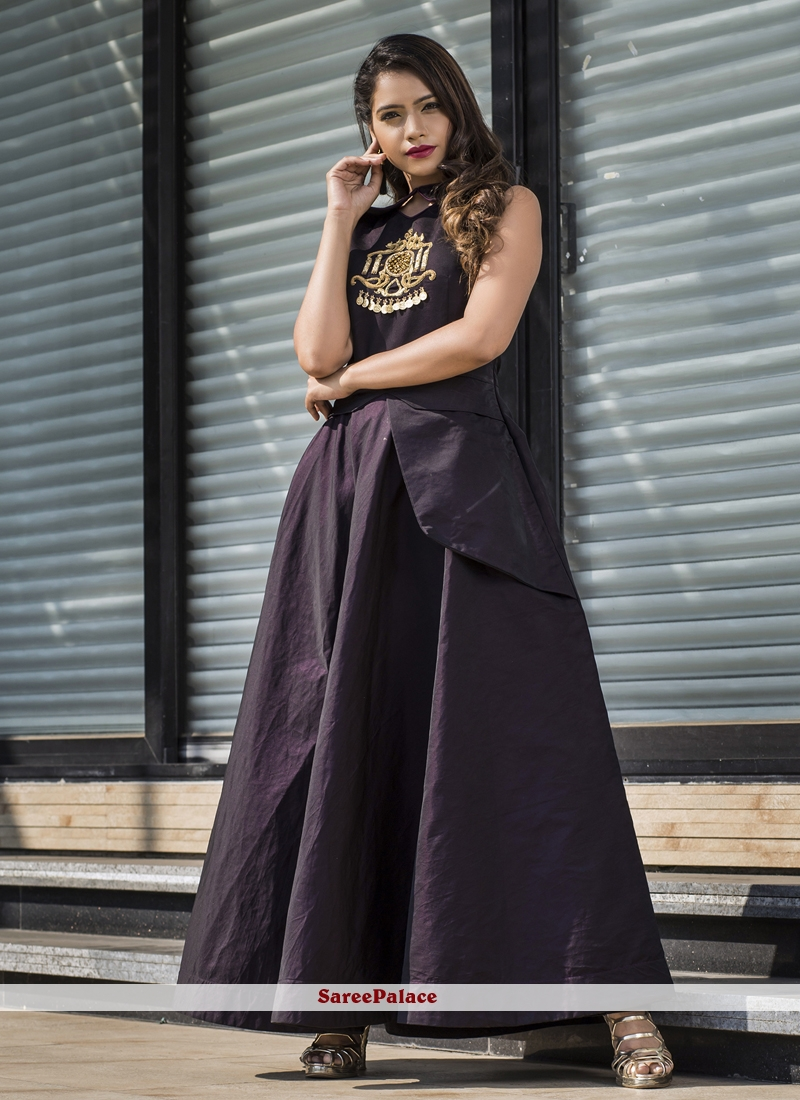 Wine Party Tafeta silk Readymade Gown