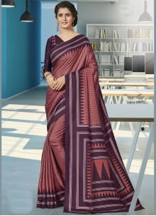 Wine Print Art Silk Traditional Saree
