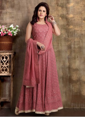 Wine Readymade Anarkali Salwar Suit