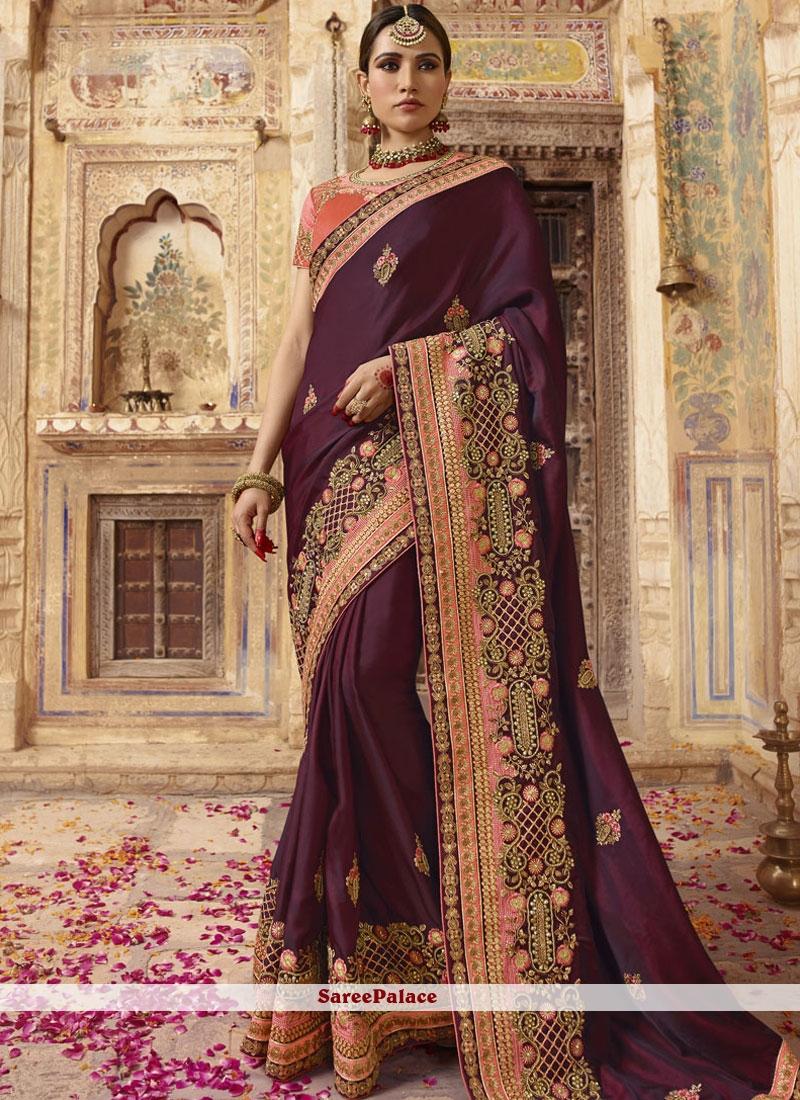 Wine Resham Designer Traditional Saree
