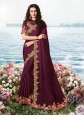 Wine Satin Silk Resham Classic Saree