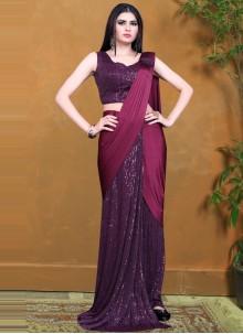 Wine Sequins Designer Saree
