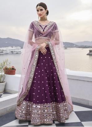 Wine Silk Bollywood Lehenga Choli