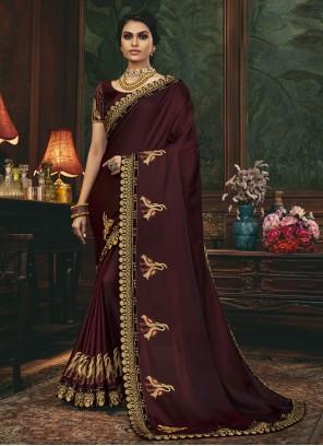 Wine Silk Designer Traditional Saree