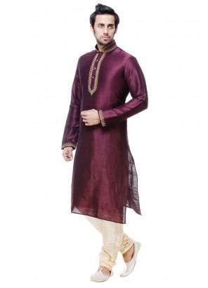 Wine Silk Kurta Pyjama with Plain