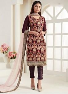 Wine Thread Georgette Trendy Straight Salwar Suit