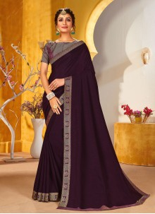 Wine Vichitra Silk Traditional Saree