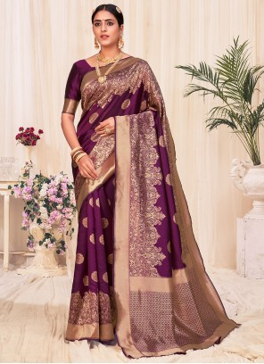 Wine Weaving Banarasi Silk Designer Traditional Saree