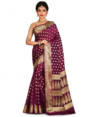Wine Weaving Engagement Traditional Saree