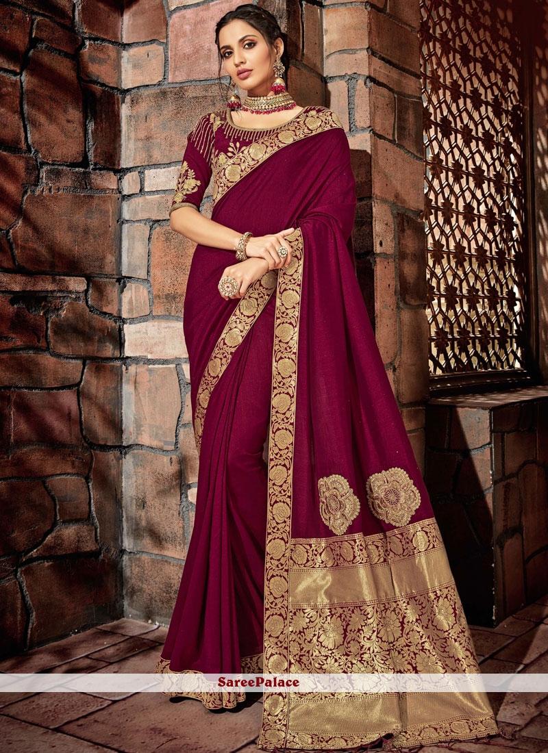 Wine Wedding Designer Saree