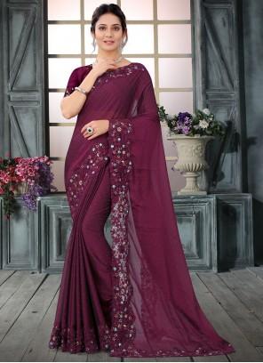 Wine Wedding Silk Trendy Saree