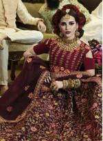 Wine Zari Bridal Lehenga Choli