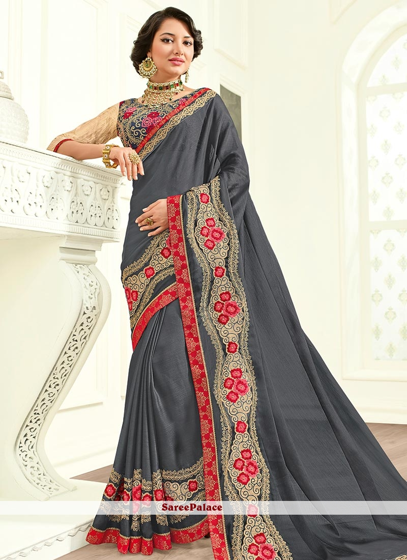 Winsome Faux Georgette Embroidered Work Traditional  Saree