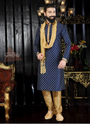 Winsome Navy Blue Embroidered Work Art Dupion Silk Kurta Pyjama