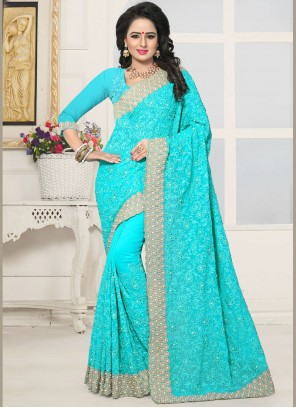 Winsome Turquoise Classic Saree