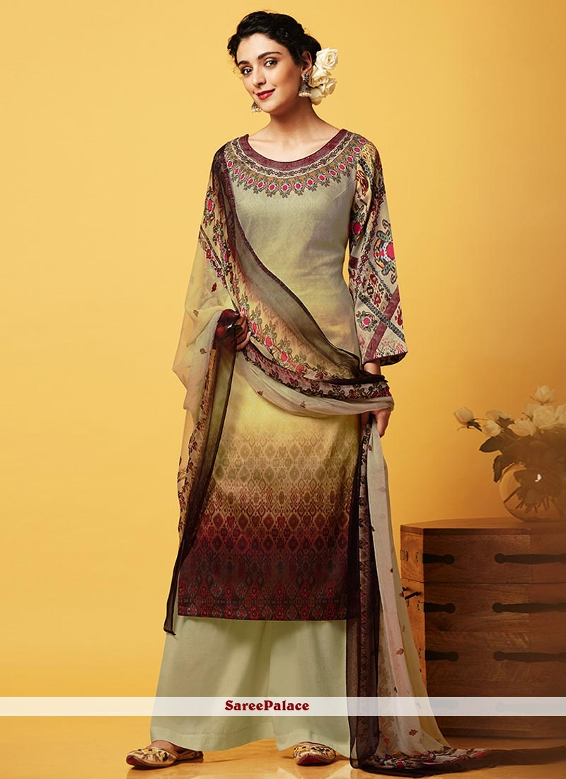 Wonderous Beige and Brown Faux Chiffon Designer Palazzo Suit