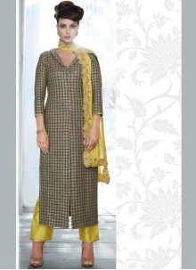 Wonderous Grey Embroidered Work Designer Suit