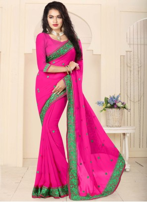 Wonderous Hot Pink Resham Work Faux Georgette Classic Saree