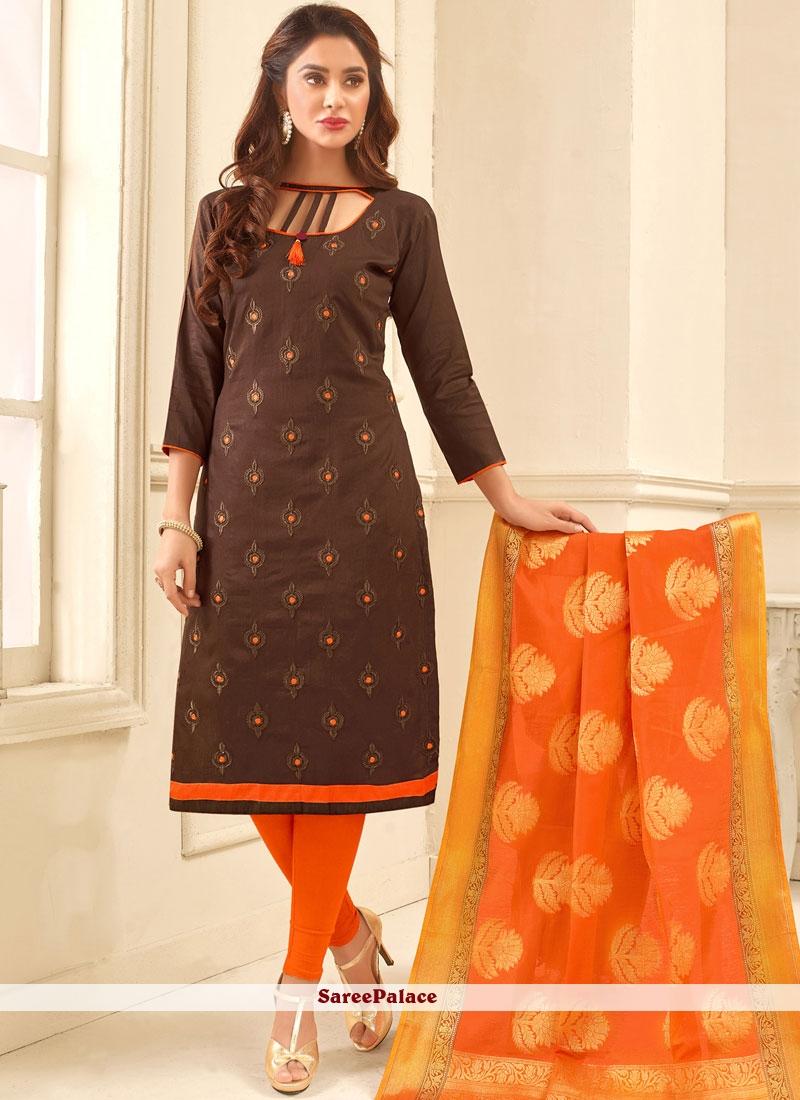 Wonderous Print Work Cotton   Churidar Suit