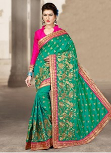 Wonderous Sea Green Designer Traditional Saree
