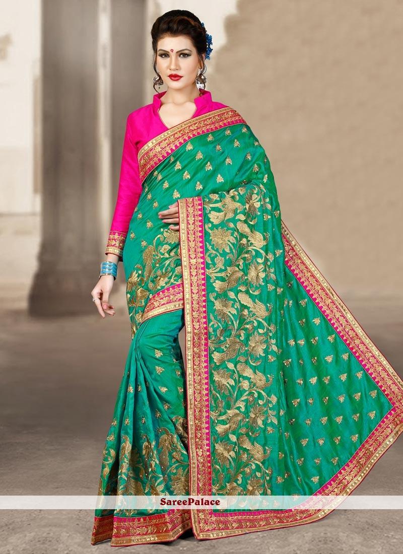 Wonderous Sea Green Designer Traditional Saree