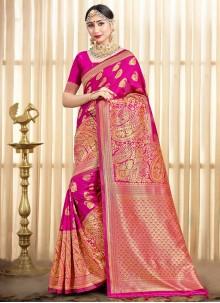 Woven Art Banarasi Silk Hot Pink Designer Traditional Saree