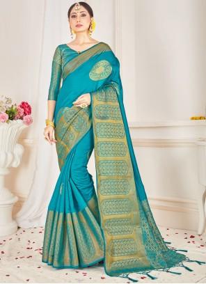 Woven Art Banarasi Silk Designer Traditional Saree in Blue