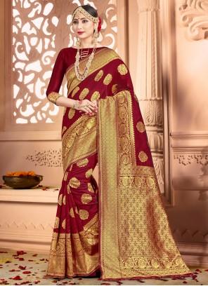 Woven Art Banarasi Silk Maroon Traditional Designer Saree