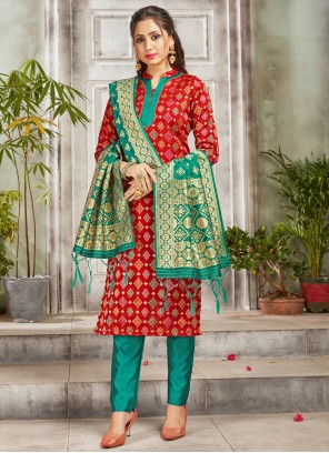 Red Woven Art Banarasi Silk Pant Style Suit