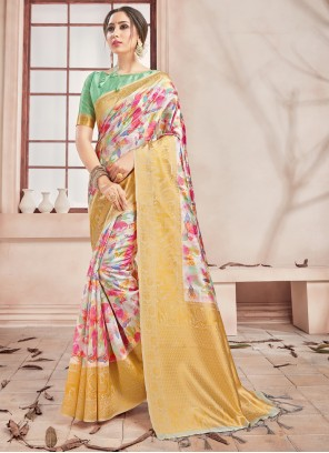 Woven Art Banarasi Silk Printed Saree in Multi Colour