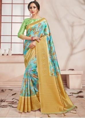 Woven Art Banarasi Silk Printed Saree in Multi Colour