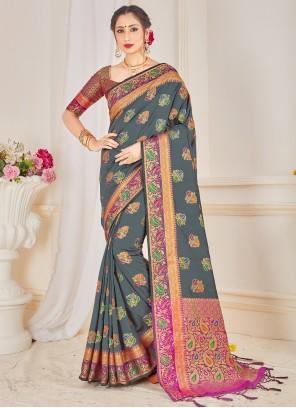 Woven Art Banarasi Silk Grey Traditional Designer Saree