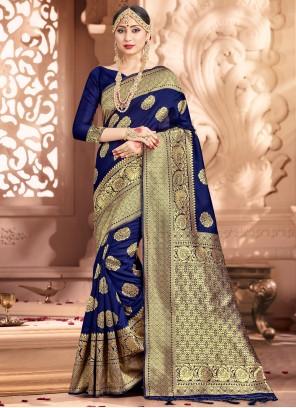 Woven Art Banarasi Silk Navy Blue Traditional Saree
