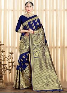 Woven Art Banarasi Silk Traditional Saree in Navy Blue