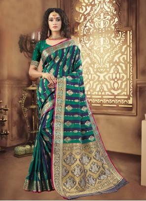 Woven Art Silk Designer Traditional Saree in Green