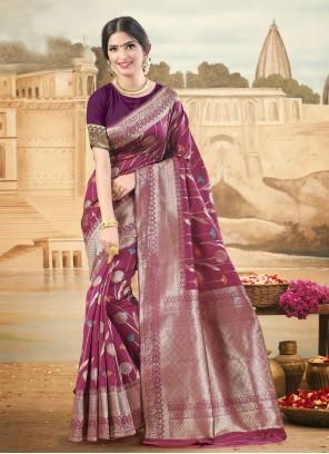Woven Art Silk Magenta Designer Traditional Saree
