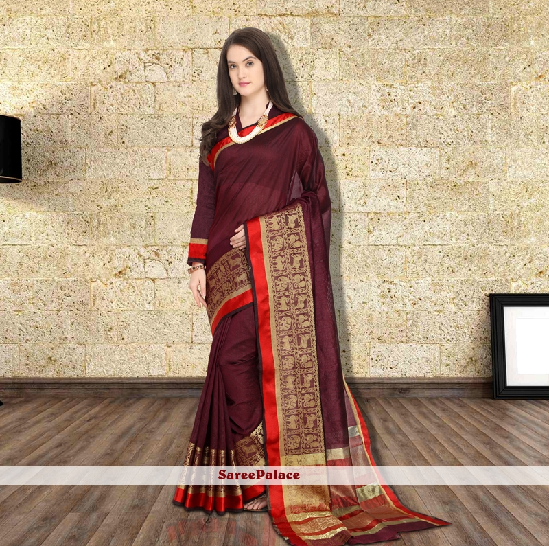 40205e4847 Buy Woven Art Silk Maroon Traditional Saree Online