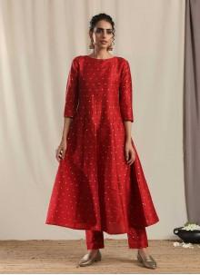 Woven Art Silk Red Designer Kurti