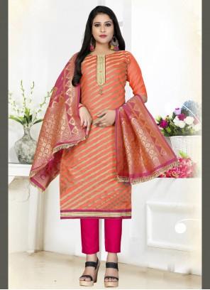 Woven Art Silk Straight Salwar Kameez