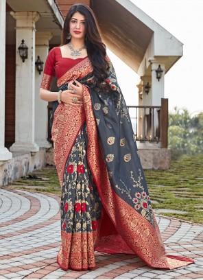 Woven Art Silk Traditional Designer Saree in Grey