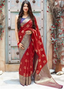 Woven Art Silk Traditional Designer Saree in Red