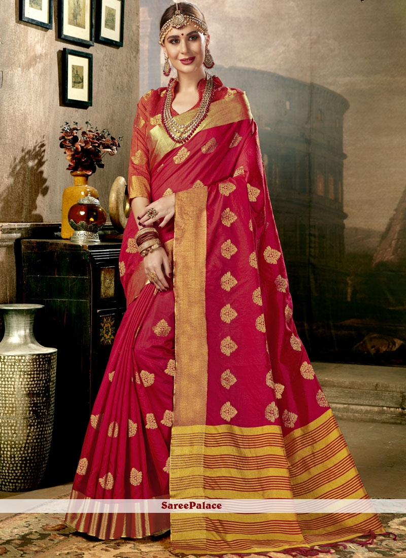 d1fe73efca Buy Red Woven Art Silk Traditional Saree Online
